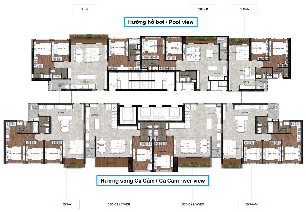 Mặt bằng căn hộ The Infiniti at Riviera Point THÁP 11 Lầu từ 9 trở lên Duplex tầng dưới. 1 - Dự án căn hộ The Infinity