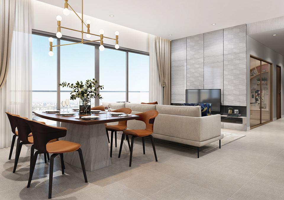 Phòng khách căn hộ 3PN mẫu tại dự án The Infiniti at Riviera Point. - THE INFINITY RIVIERA POINT