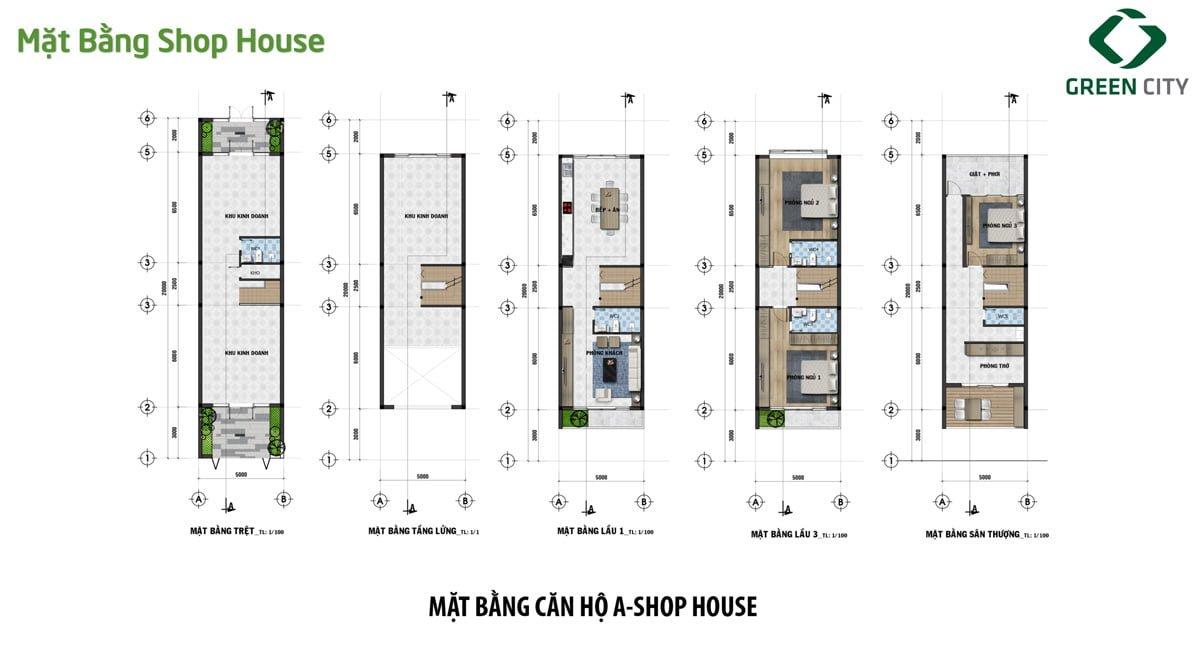 mat bang thiet ke can shophouse loai a green city - Dự án đất nền Green City Quận 9
