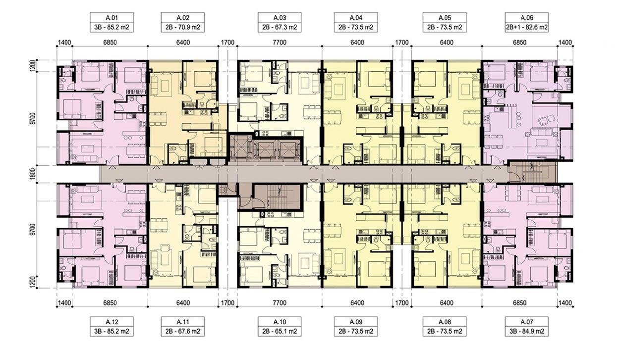 Mặt bằng tầng điển hình tại căn hộ Lux Riverview Đất Xanh