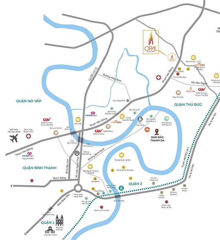 Map - vị trí dự án opal phạm văn đồng
