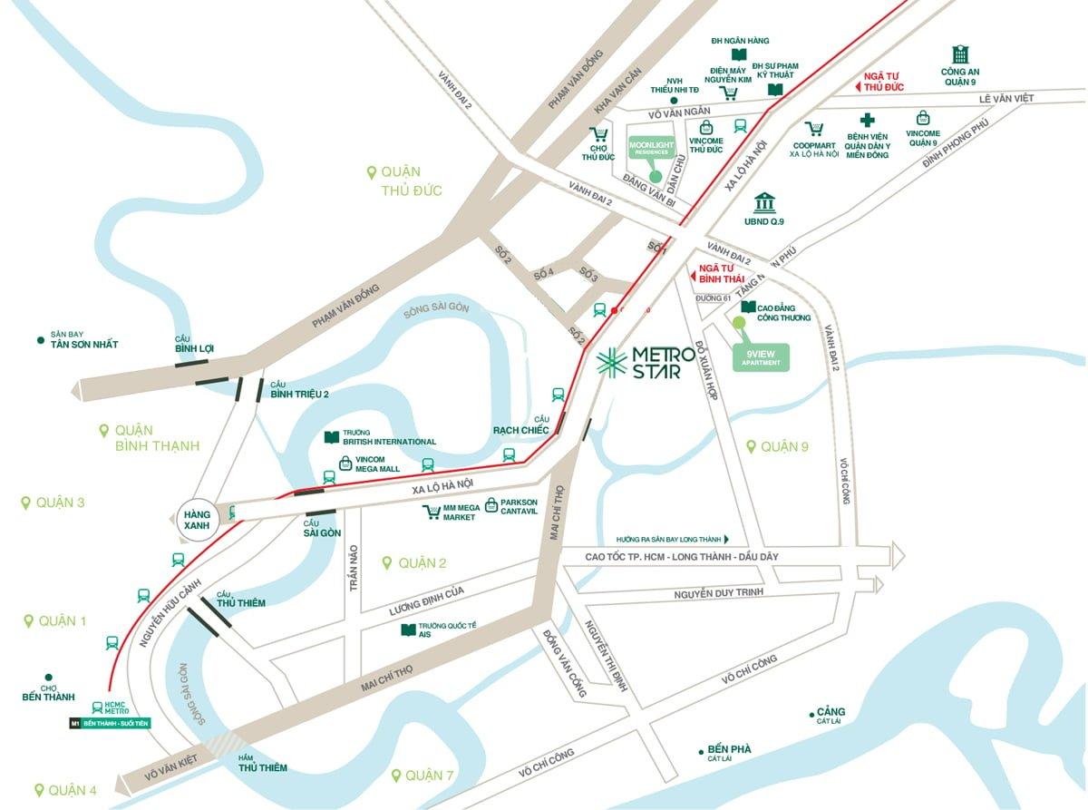 Dự án căn hộ Metro Star Quận 9, Mặt tiền Xa Lộ Hà Nội
