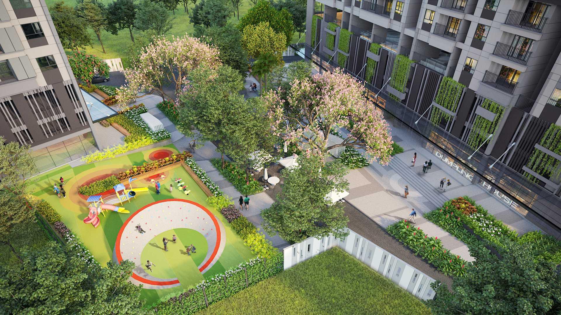 Hình Ảnh phối cảnh nội khu, tiện ích, khu vui chơi ngoài trời tại dự án căn hộ Opal Boulevard Phạm Văn Đồng
