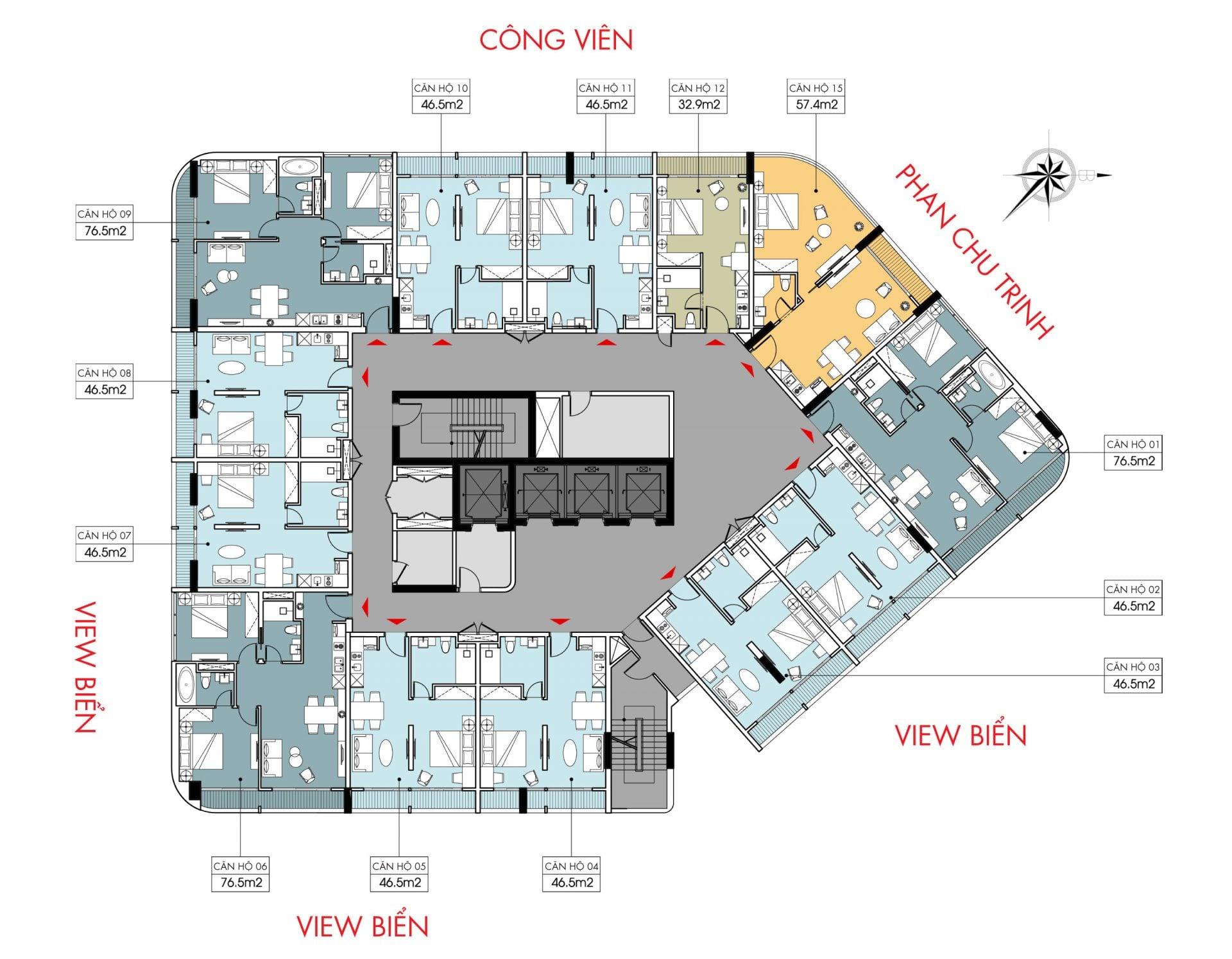 Mặt bằng tầng điển hình dự án Marina Suites Nha Trang