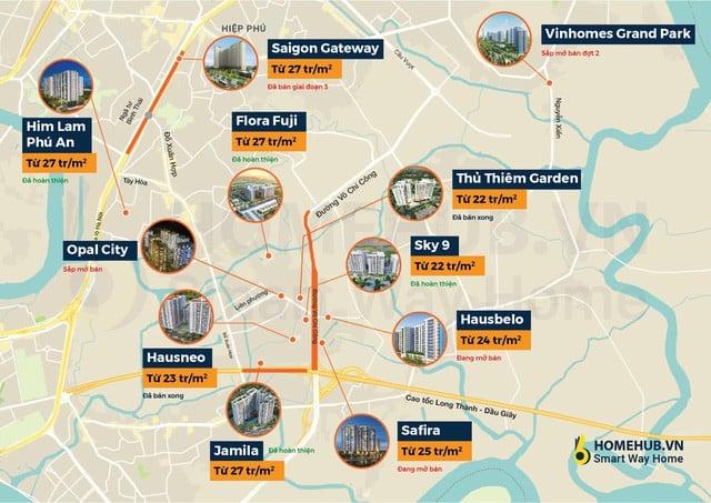 Toàn cảnh giá dự án căn hộ trung cấp Quận 9 xung quanh đường Võ Chí Công cao tốc Long Thành Dầu Giây - #Tổng hợp dự án căn hộ quận 9 năm 2020