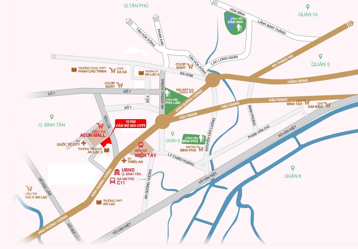 Vị trí dự án căn hộ Hoa Lâm Bình Tân