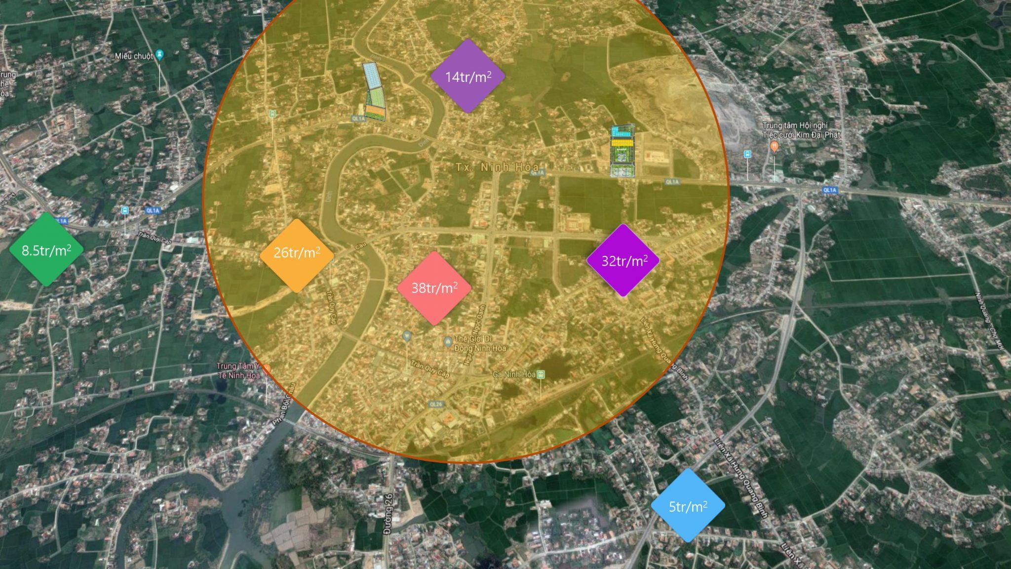 Giá bán các dự án bất động sản xung quanh khu kinhh tế Bắc Vân Phong
