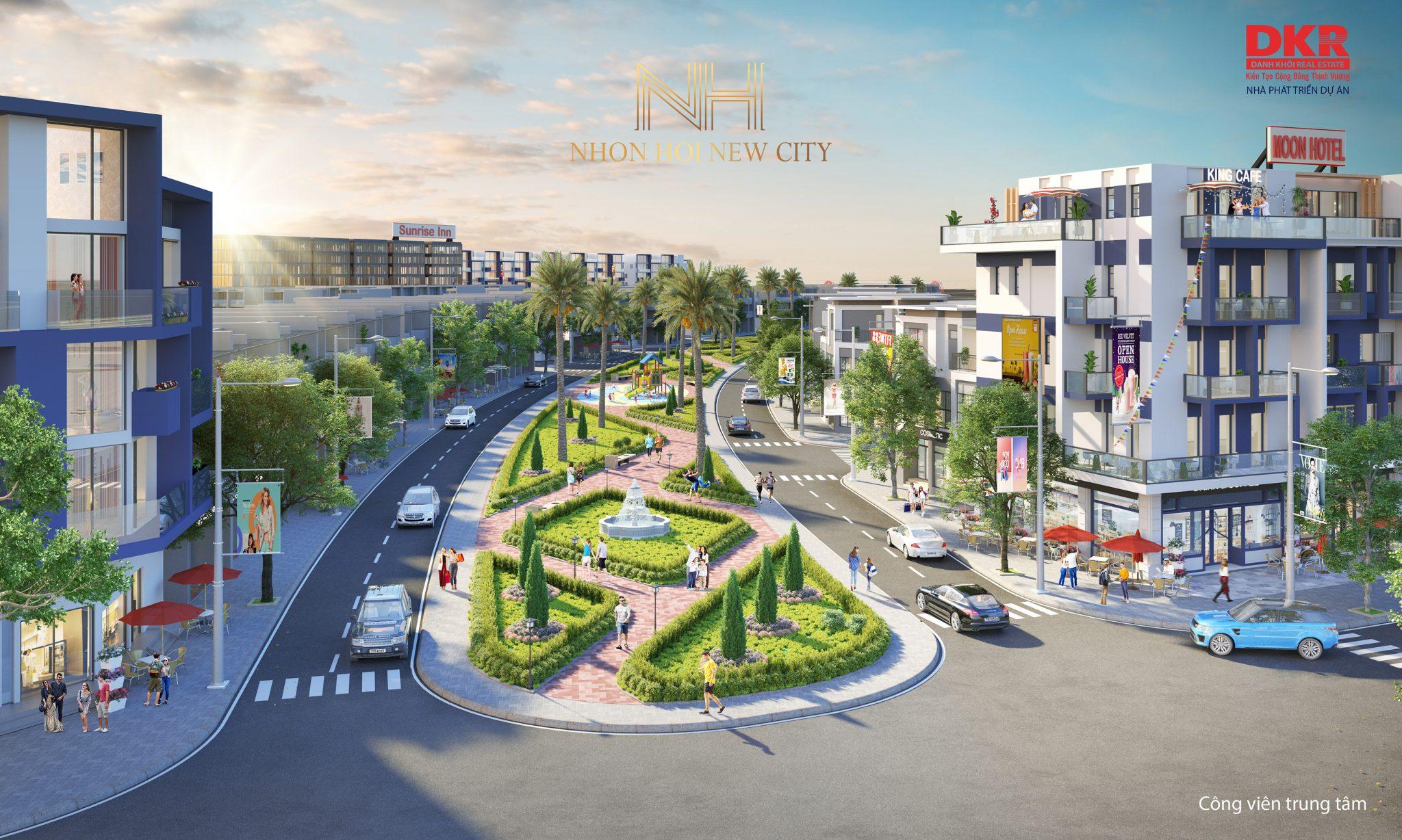 190820 Phối cảnh công viên trung tâm DA Nhơn Hội New City PK2 - DỰ ÁN ĐẤT NỀN NHƠN HỘI NEW CITY QUY NHƠN, TỈNH BÌNH ĐỊNH