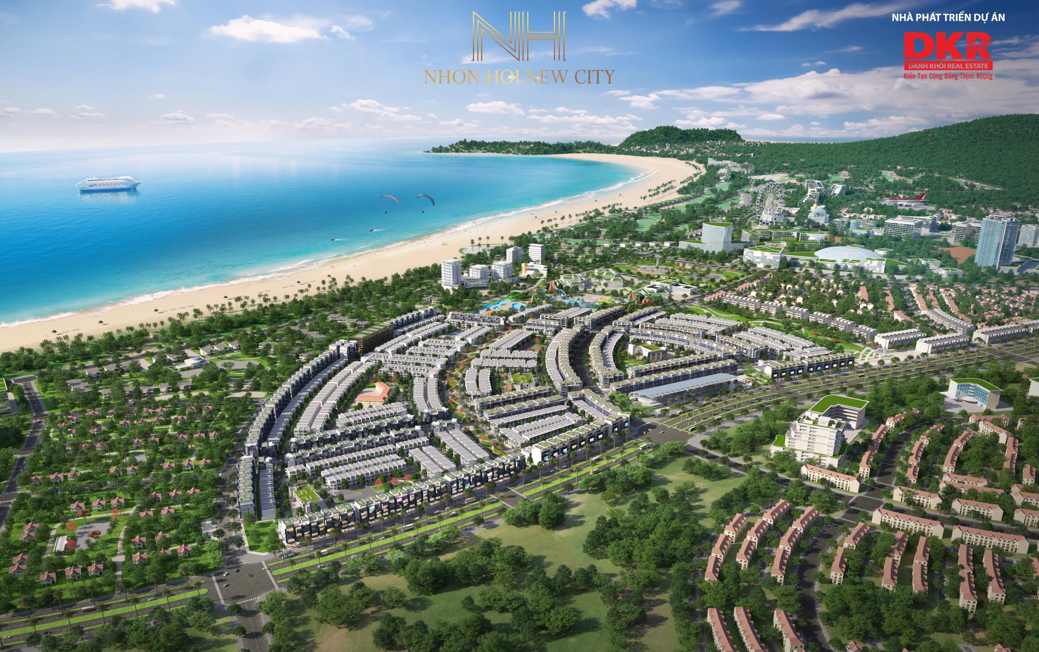 190821 Phối cảnh tổng thể dự án nhìn từ đất liền - DỰ ÁN ĐẤT NỀN NHƠN HỘI NEW CITY QUY NHƠN, TỈNH BÌNH ĐỊNH