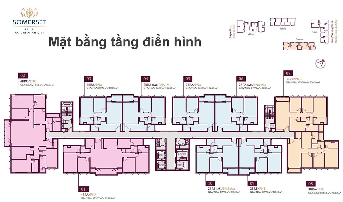 Mặt bằng tầng điển hình căn hộ Somerset Feliz Quận 2