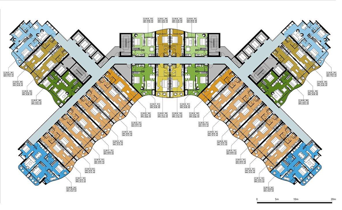 Mặt bằng tầng điển hình dự án Crystal Marina Bay Nha Trang