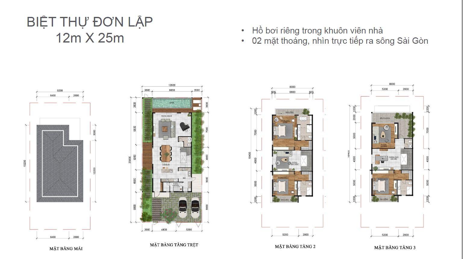 Thiết kế 2D biệt thự đơn lập dự án Palm Marina Novaland -Quận 9