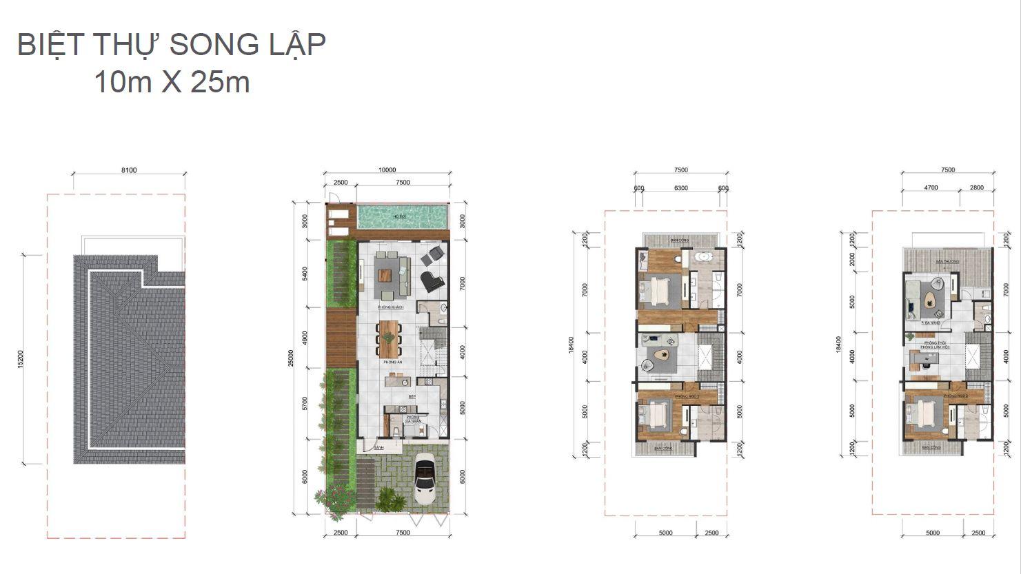 Thiết kế 2D biệt thự song lập dự án Palm Marina Novaland -Quận 9