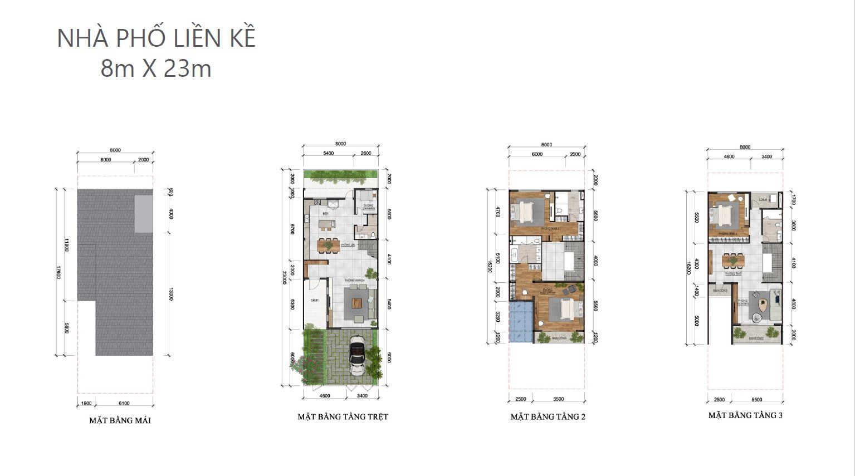 Thiết kế 2D nhà phố liền kế dự án Palm Marina Novaland -Quận 9