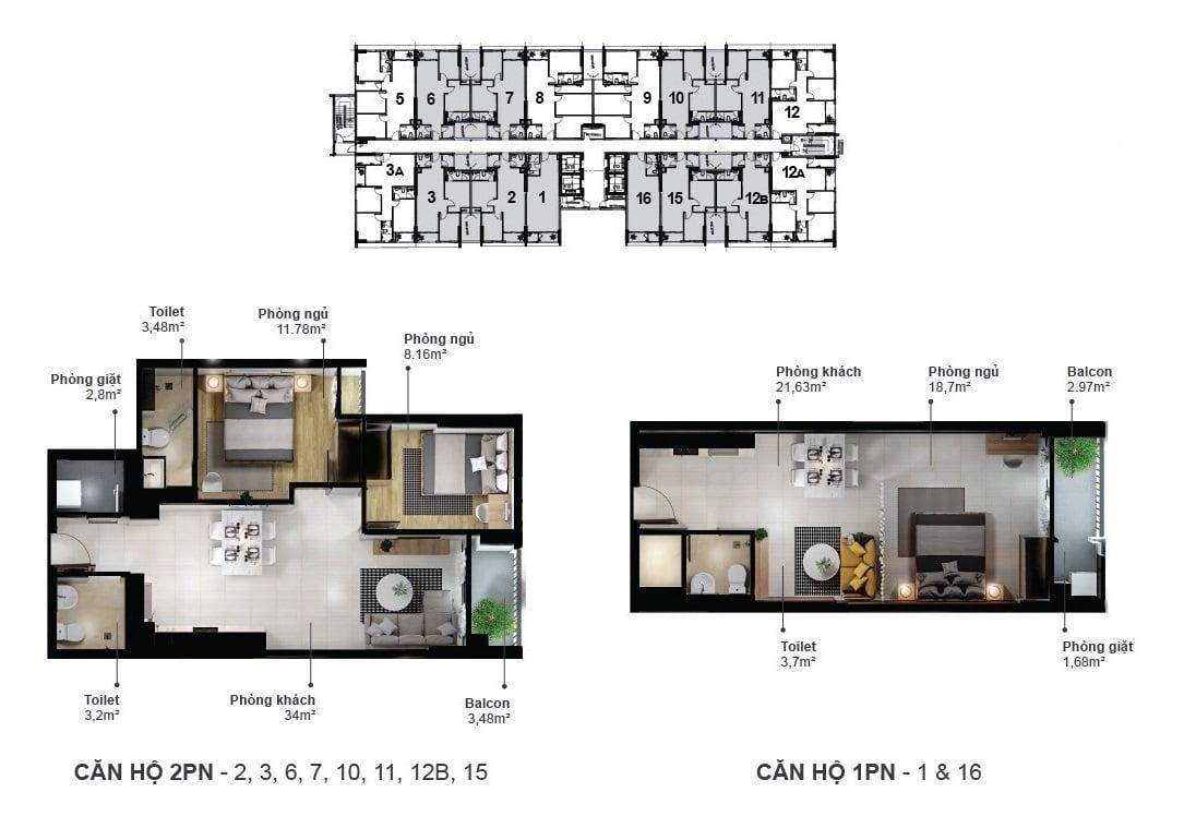 Thiết kế căn hộ 1 và 2 phòng ngủ dự án Ecoxuan Bình Dương