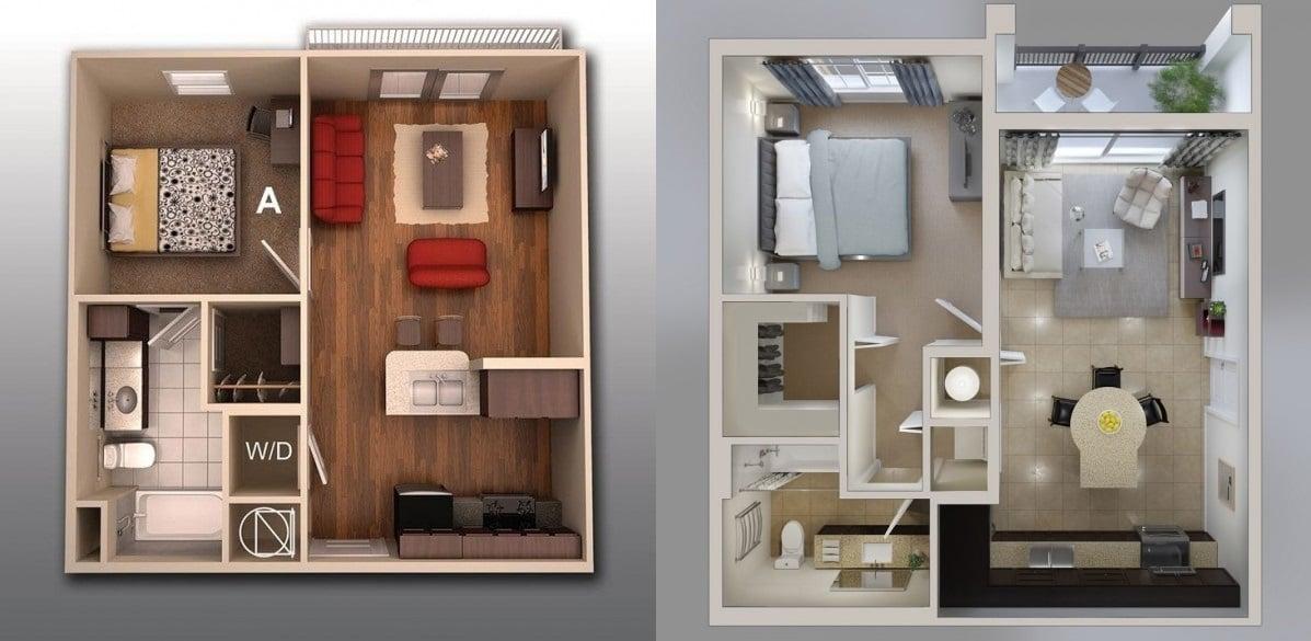 thiet ke can ho 1 phong ngu dep - Thiết kế căn hộ 1 phòng ngủ đẹp