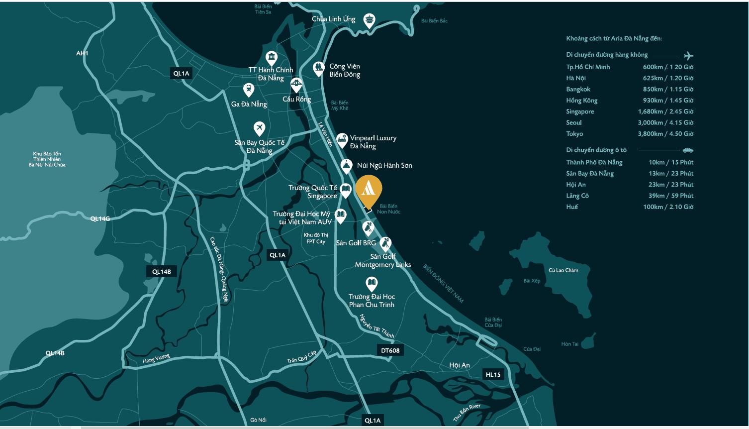 Map - Vị trí dự án Aria Đà Nẵng Hotels & Resorts