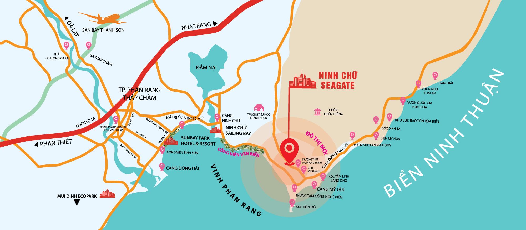 Map - bản đồ vị trí dự án nhà phố biển Ninh Chữ Ninh Thuận
