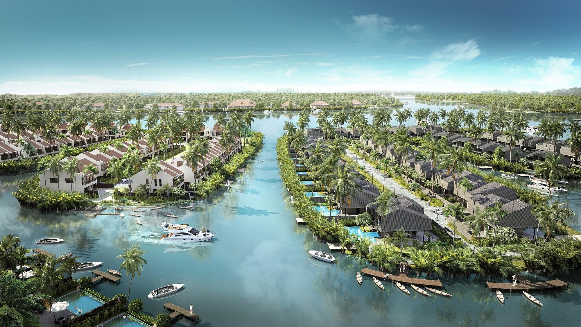 Dự án nổi bật với thiết kế kênh nhân tạo dẫn nước vào từ sông lớn