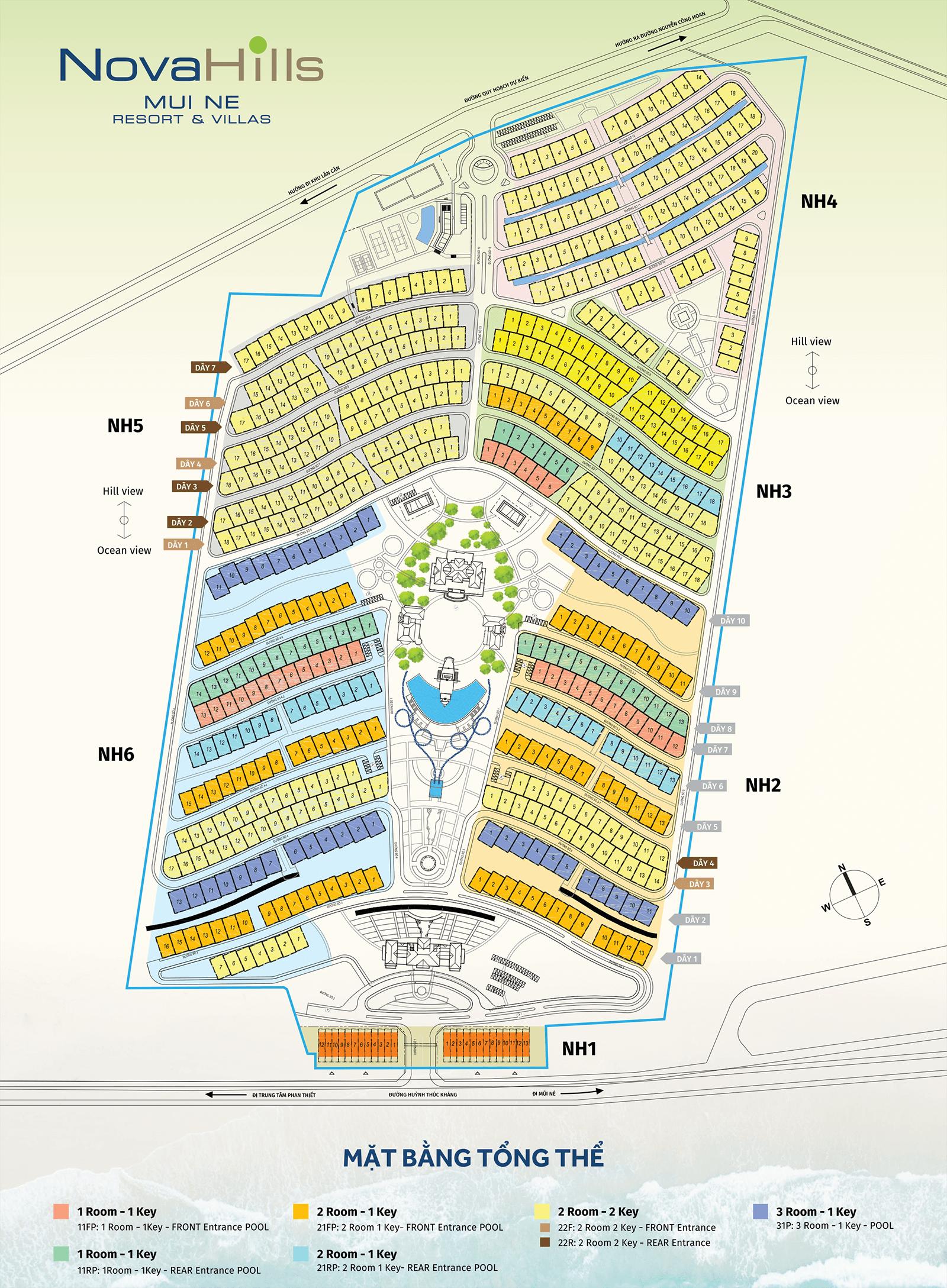 Mặt bằng chi tiết dự án Novahill Mũi Né