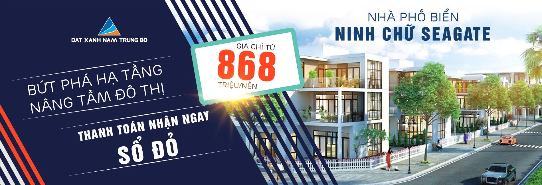 Nhà phố biển Ninh Chữ Seagate chỉ 868 triệu/m2