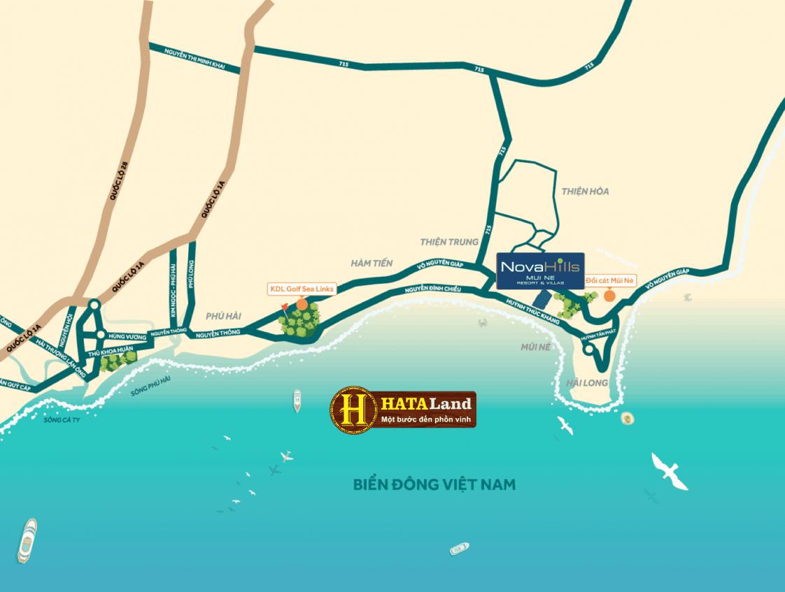 Map - Vị trí khu biệt thự Novahills Mũi Nế Resort