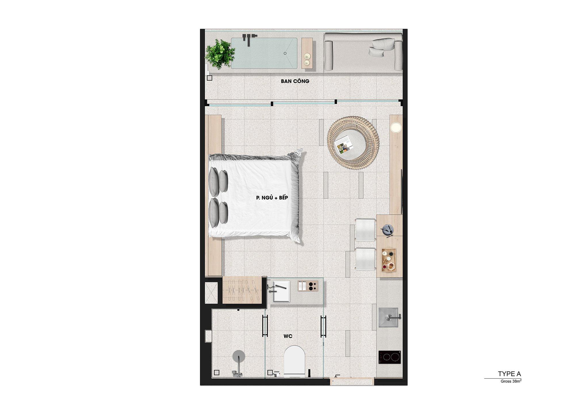 thanh long bay garden bay Type A 38m2 - DỰ ÁN THANH LONG BAY PHAN THIẾT TỈNH BÌNH THUẬN