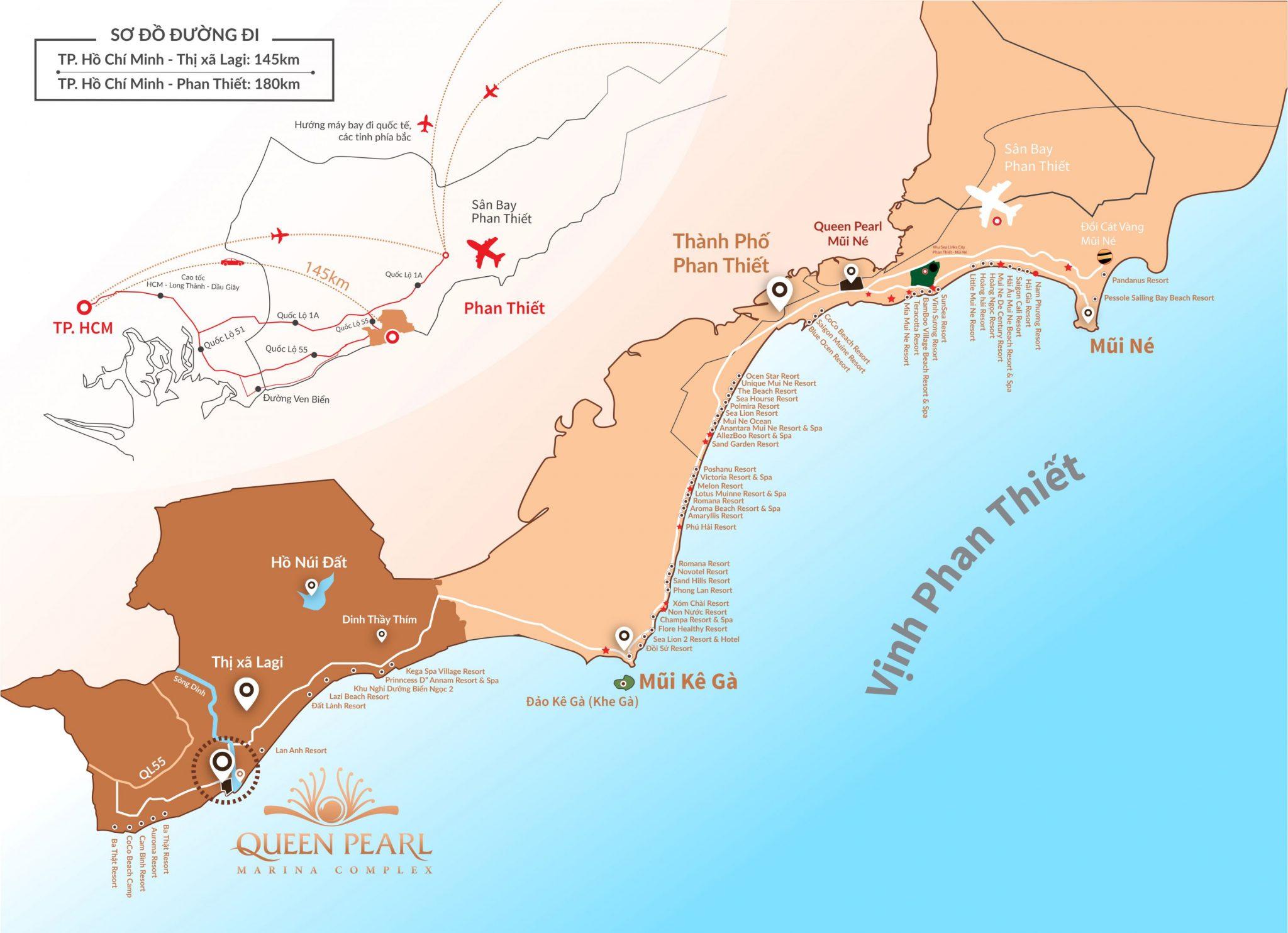 Map - vị trí khu đô thị Queen Pearl Marina Lagi Bình Thuận