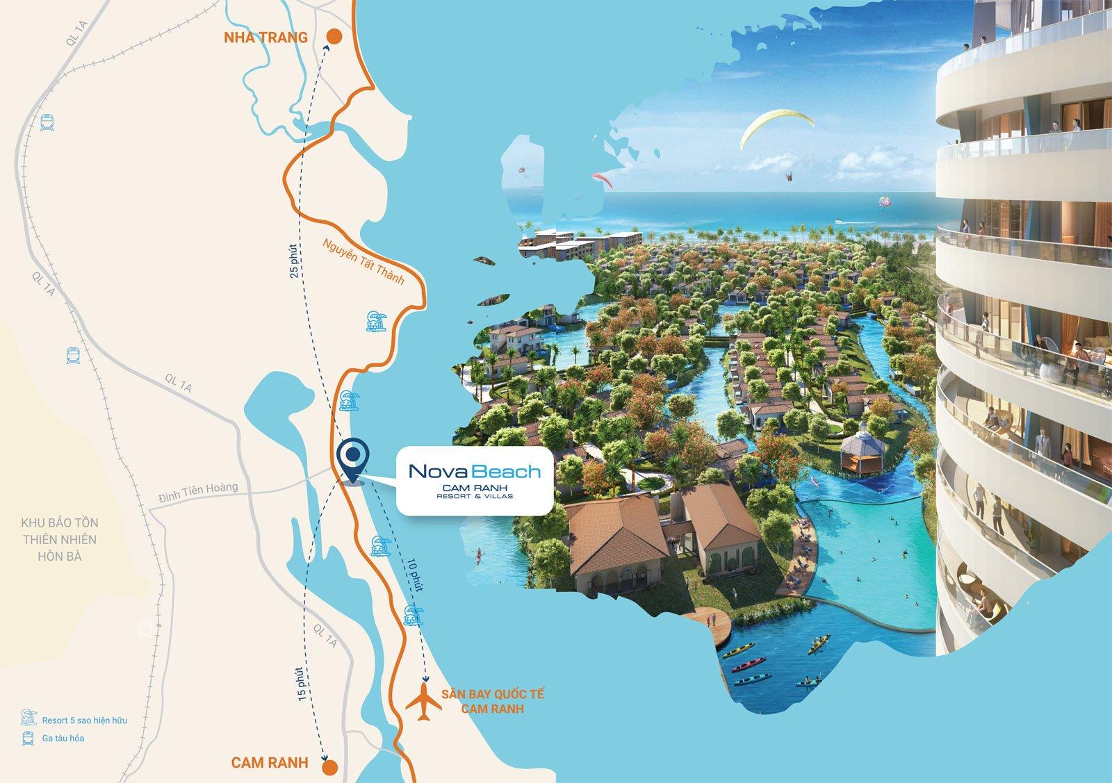Map - vị trí dự án Novabeach Resort & Villas Cam Ranh
