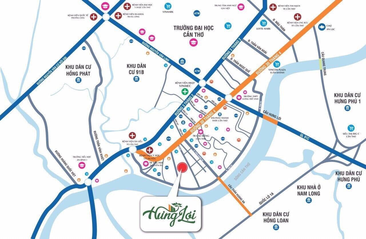 Map - Vị trí mô phỏng khu biệt thự Hưng Lợi Cần Thơ