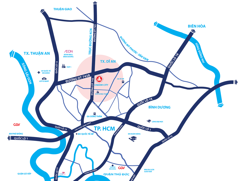 Map - vị trí dự án Charm City đắc địa tại trung tâm thị xã Dĩ An, Bình Dương