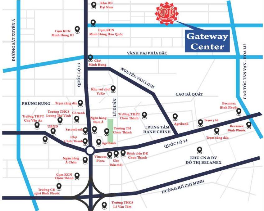 Gateway Center Bình Phước sở hữu vị trí vàng ở huyện Chơn Thành