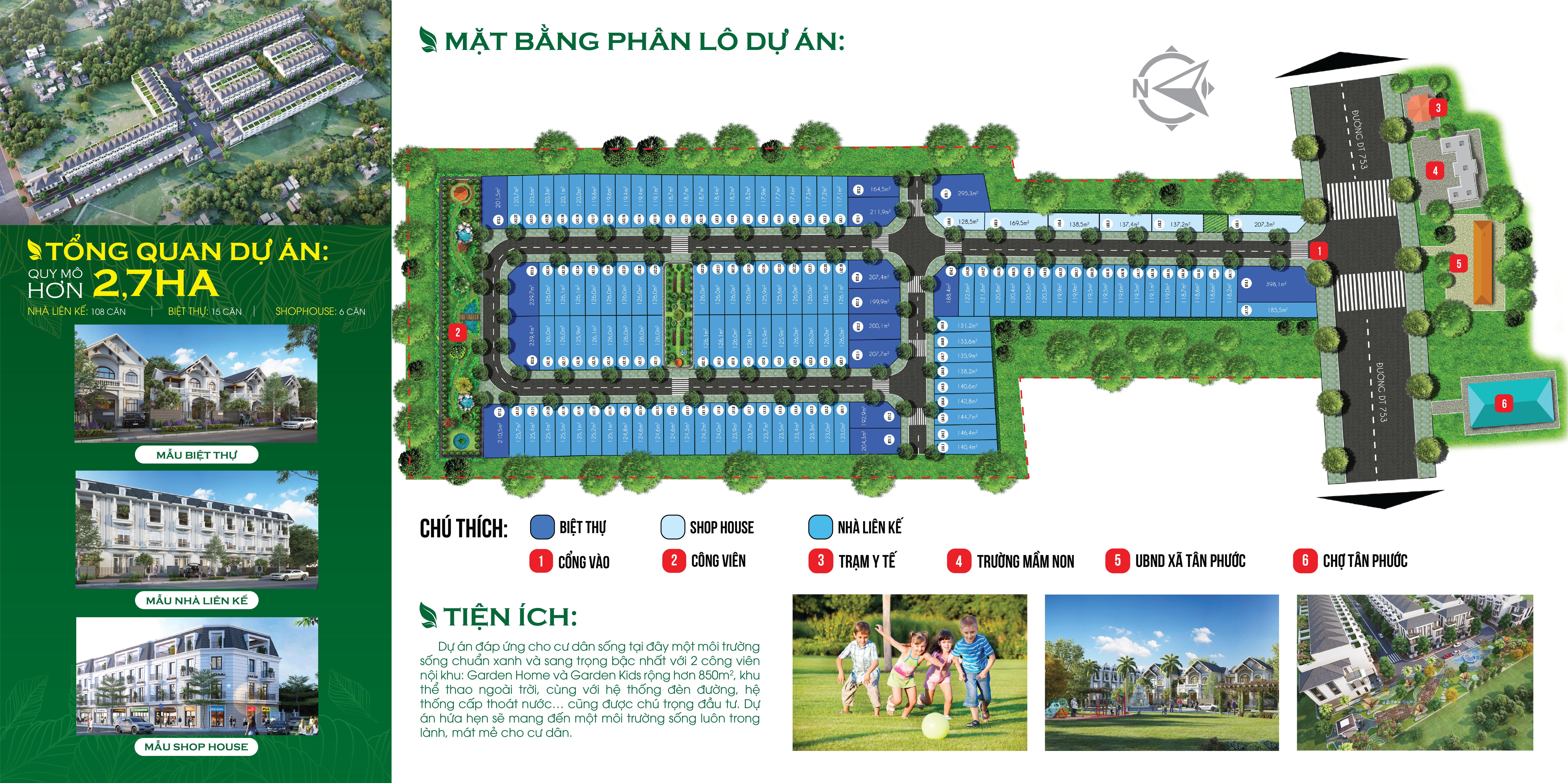 Mặt bằng dự án đất nền khu dân cư Tân Phước Center Bình Phước