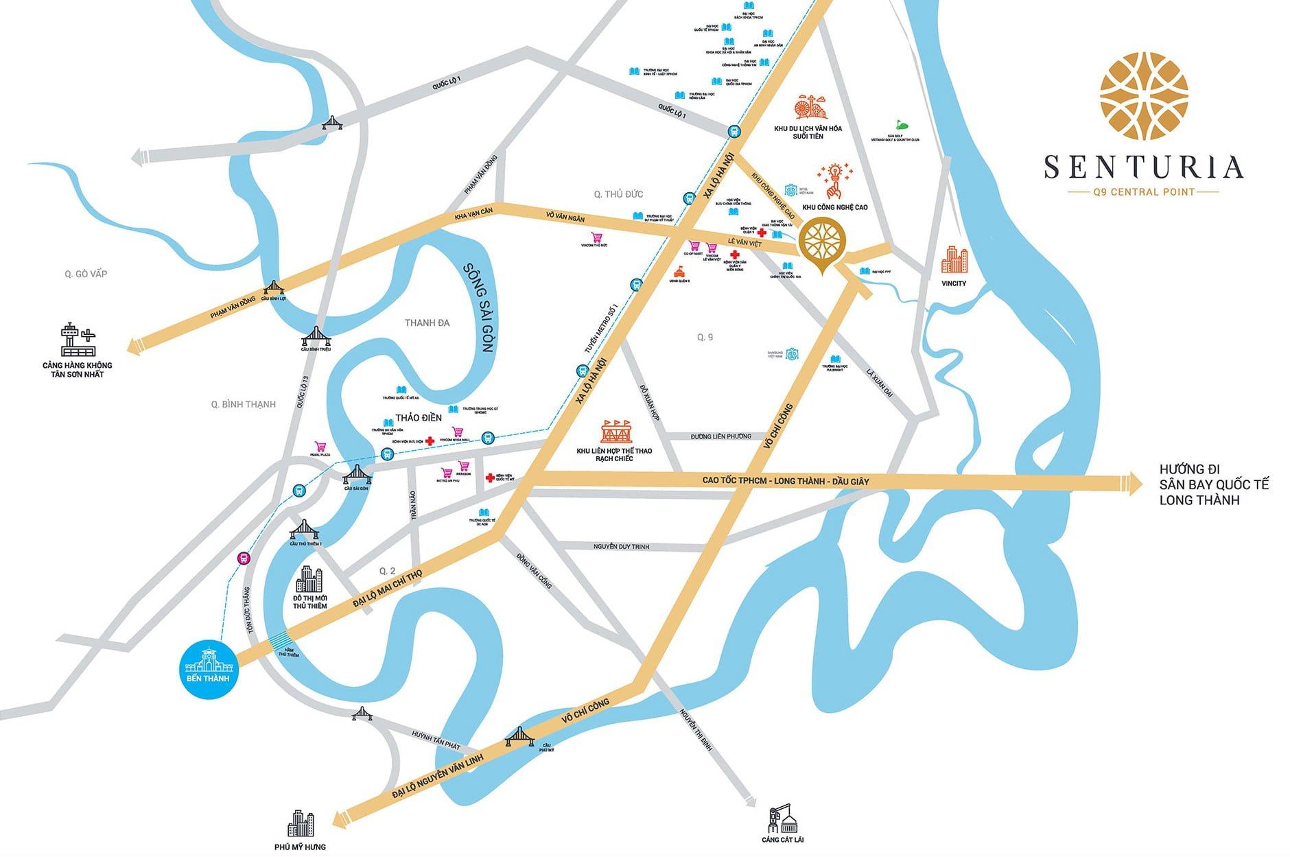 Map - Vi trí khu biệt tự Senturia Q9 Central Point