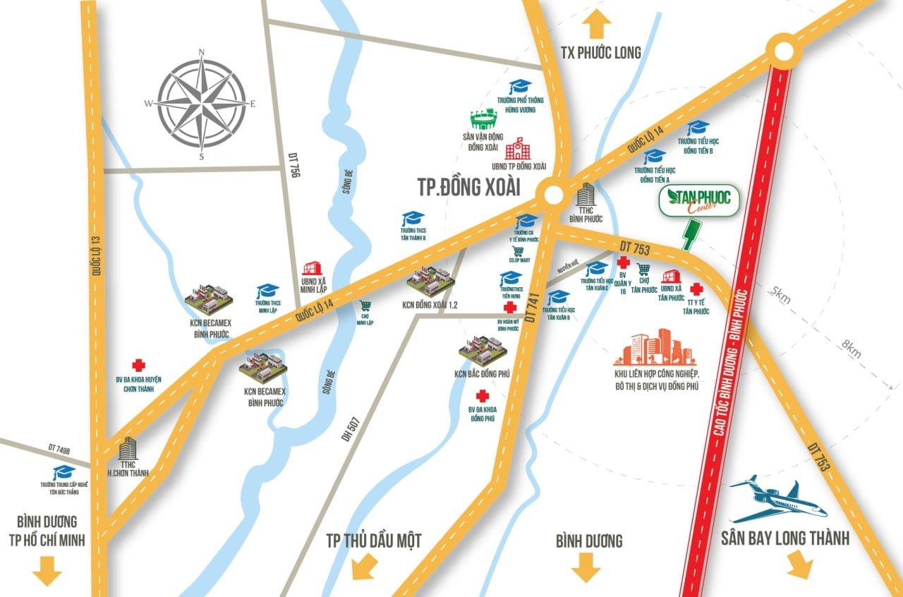 Map - vị trí dự án đất nền Tân Phước Center Bình Phước