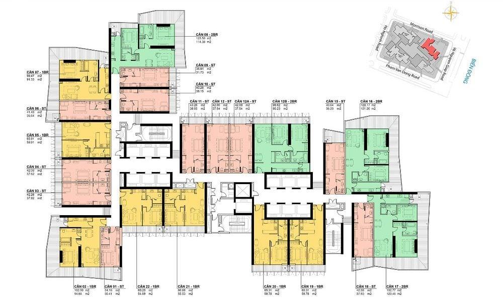 Mặt bằng tầng 5 -23 dự án Wyndham Soleil Ánh Dương