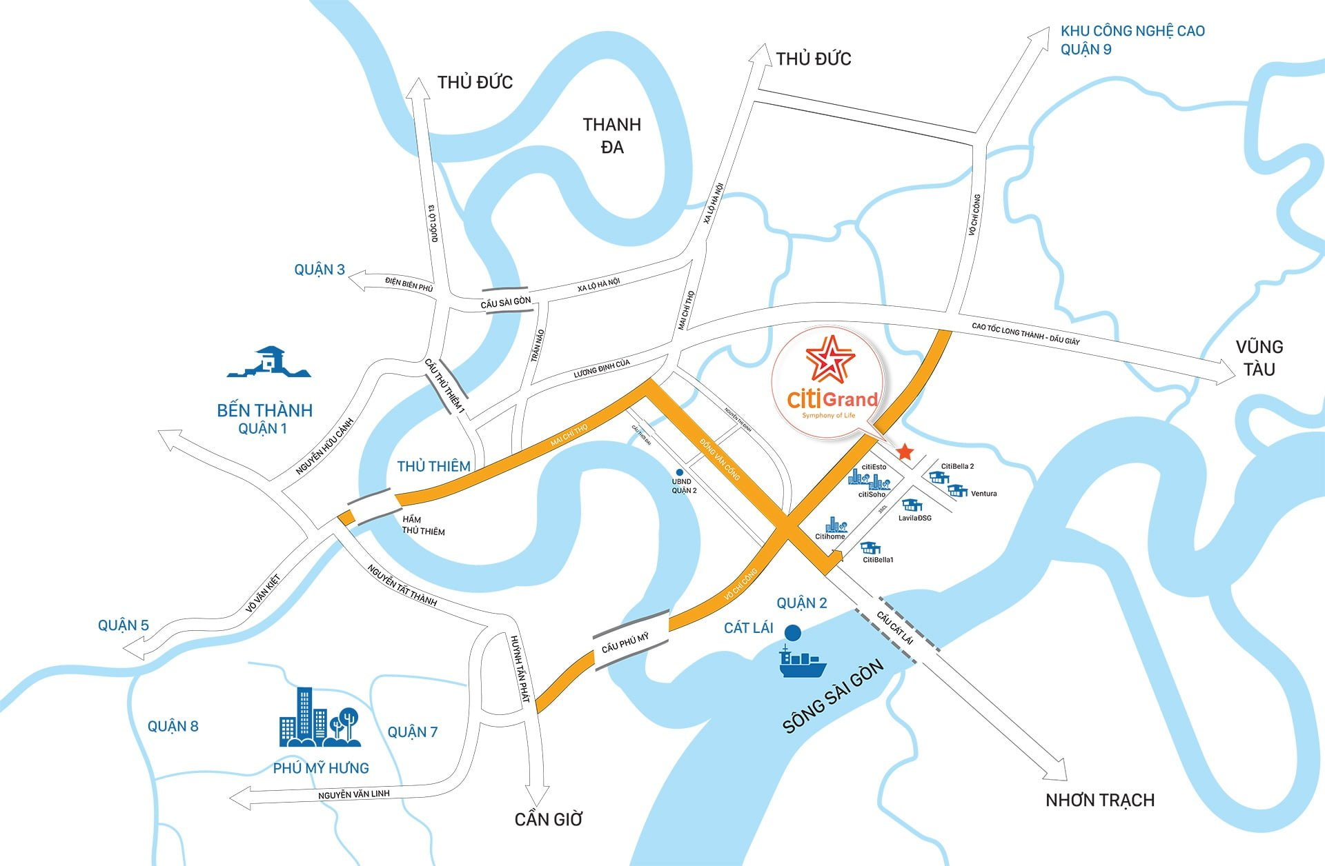 Map citigrand - DỰ ÁN CĂN HỘ CITI GRAND CẢNG CÁT LÁI QUẬN 2
