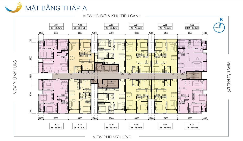 Mặt bằng tầng chung cư Luxcity q7