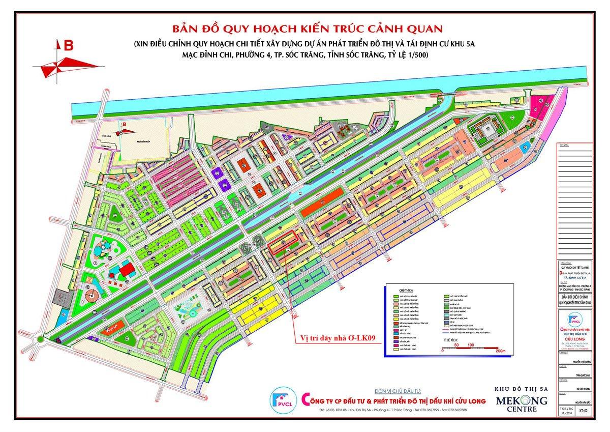 Bản đồ quy hoạch kiến trúc cảnh quan dự án khu đô thị 5A Mekong Centre