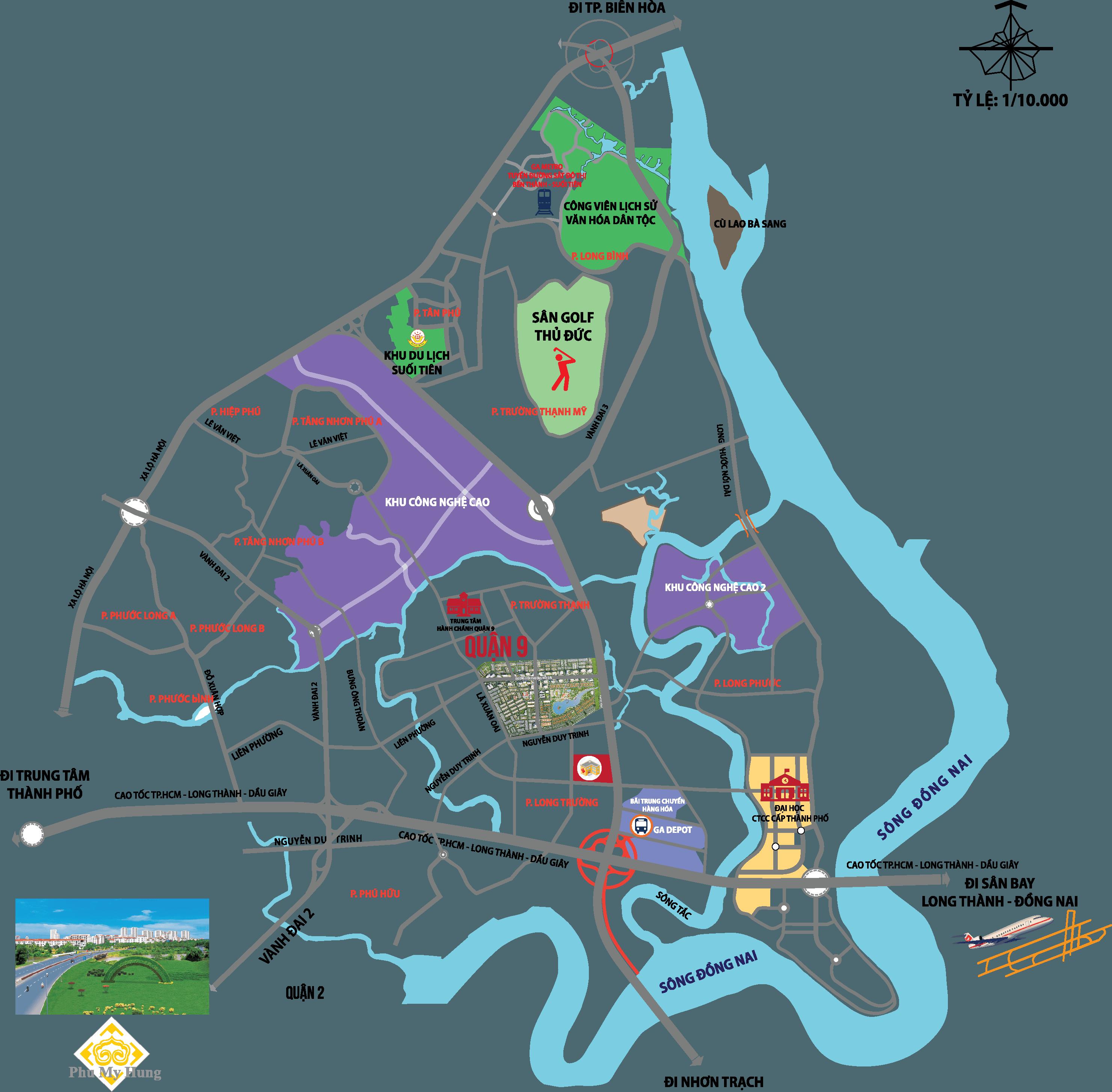 Vị trí dự án khu đô thị Đông Tăng Long Quận 9