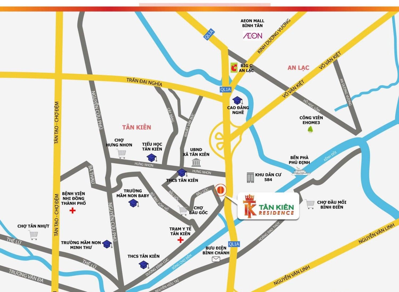 Vị trí dự án Tân Kiên Residence huyện Bình Chánh