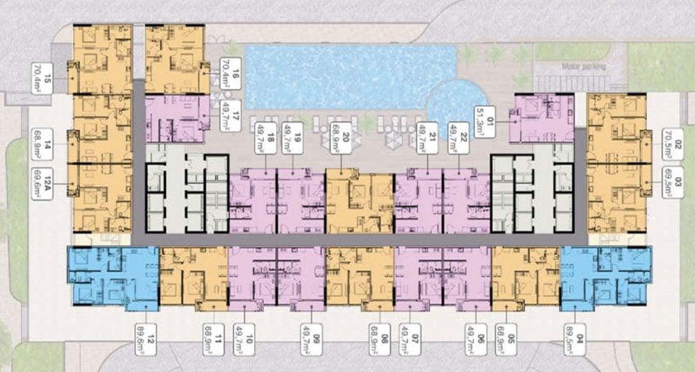 Mặt bằng tầng điển hình dự án Officetel Grand Center Quy Nhơn