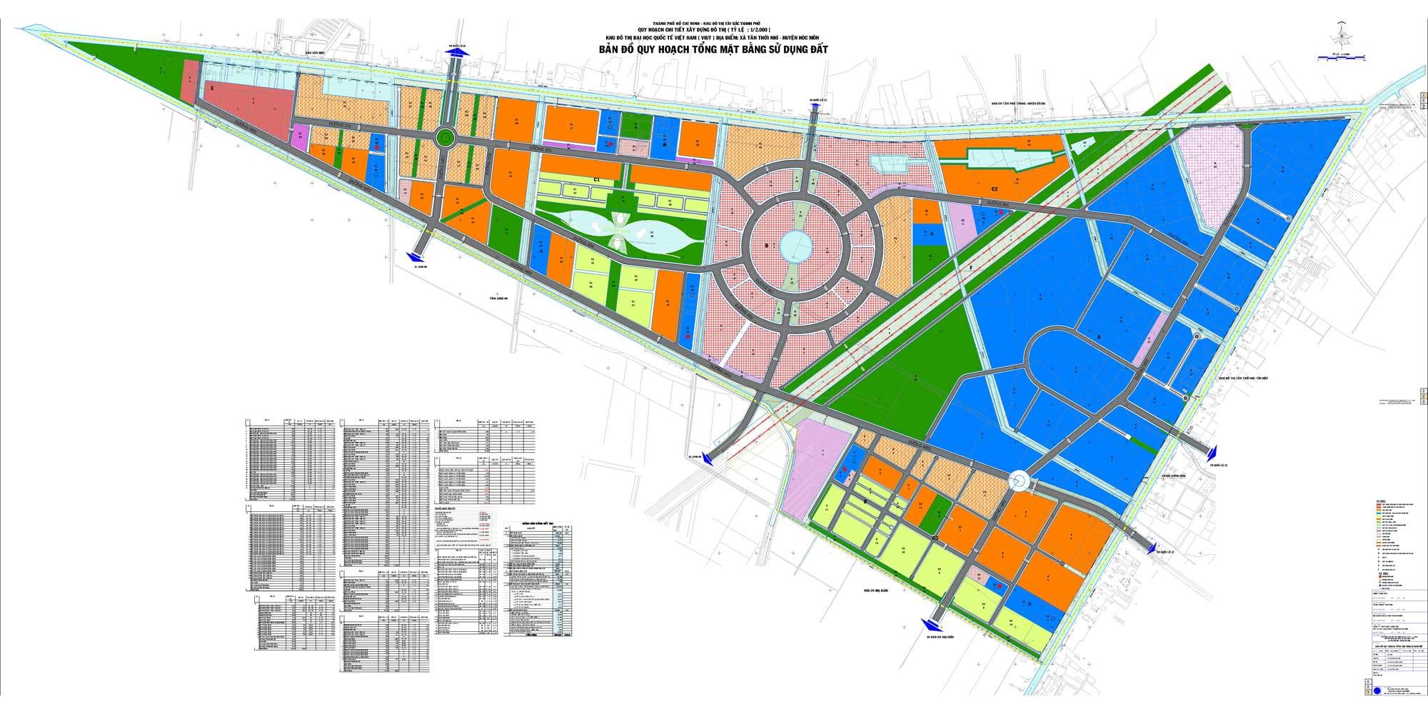 Mặt bằng tổng thể khu đô thị Vinhomes huyện Hóc Môn TP HCM