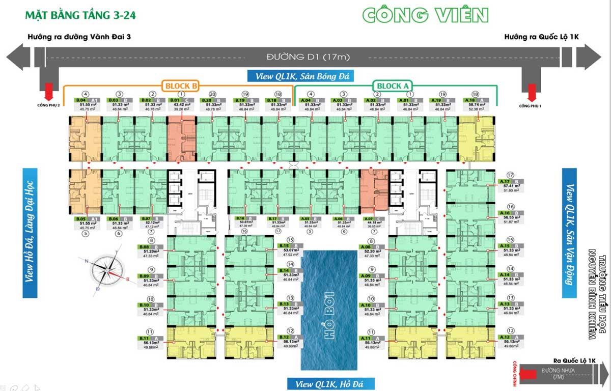 mat bang tang 3 24 du an bcons green view binh duong - DỰ ÁN CĂN HỘ BCONS GREEN VIEW DĨ AN BÌNH DƯƠNG