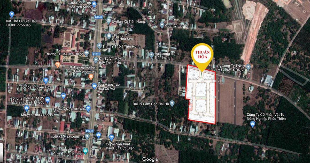 Vị trí dự án Thuận Hòa Lucky Home Bình Phước