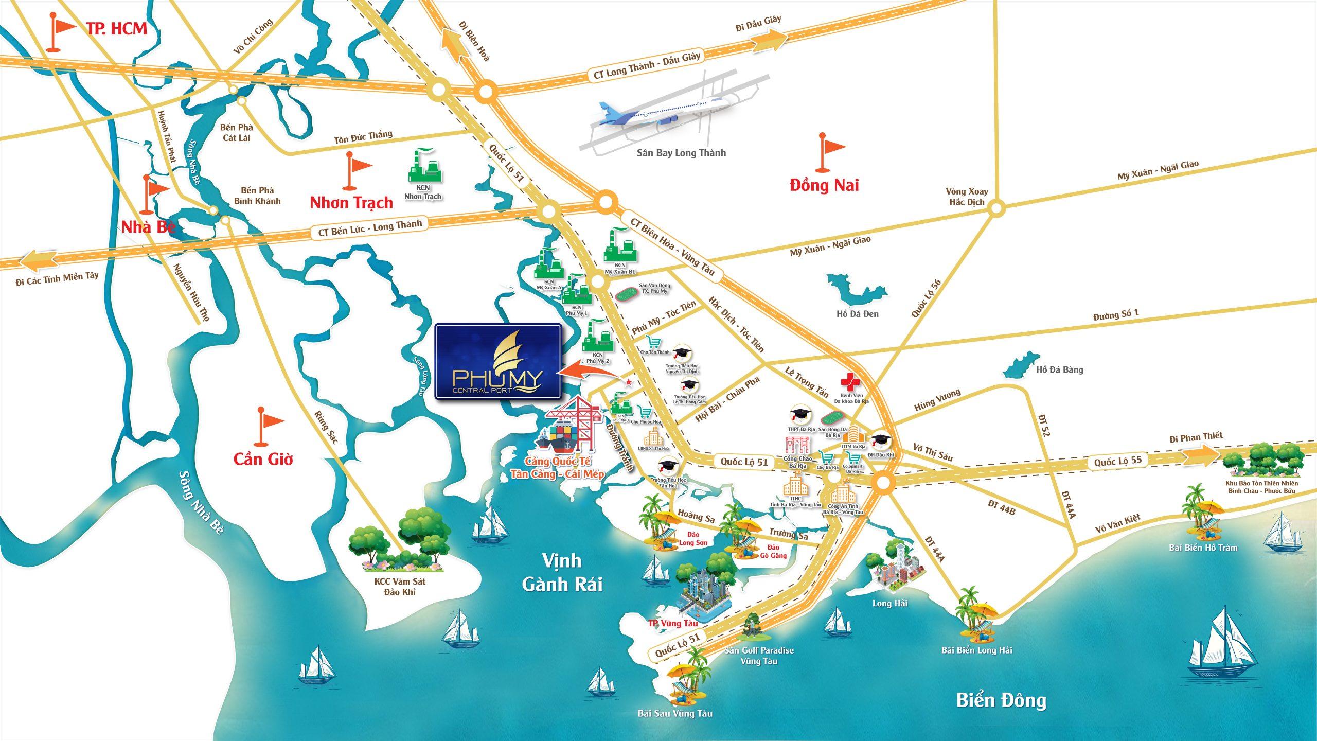Vị trí dự án Phú Mỹ Central Port Bà Rịa Vũng Tàu