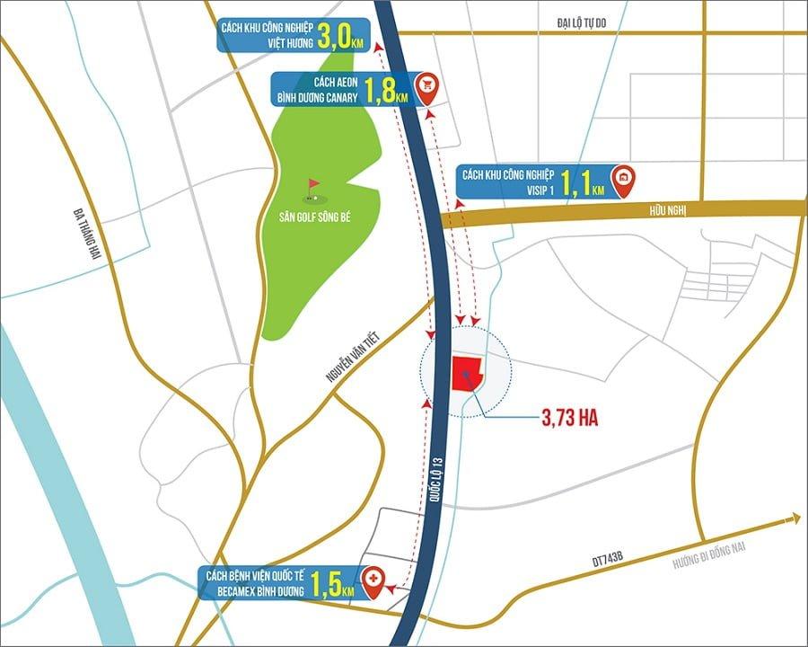 Vị trí dự án căn hộ Astral City Bình Dương - ASTRAL CITY