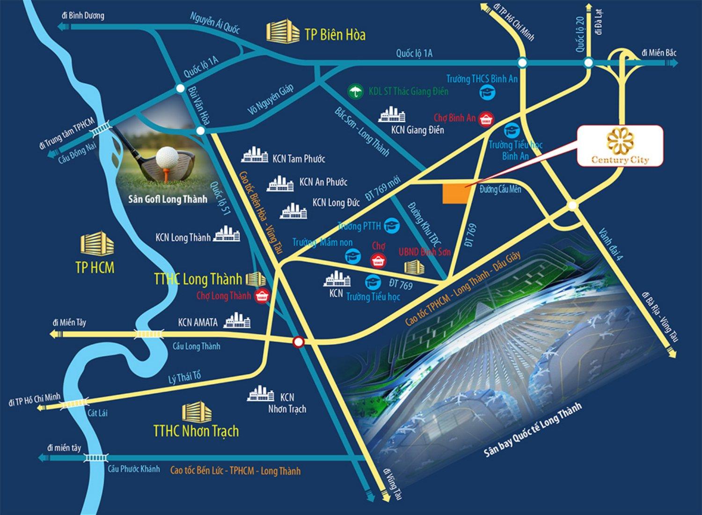 vị trí dự án century city long thành - CENTURY CITY
