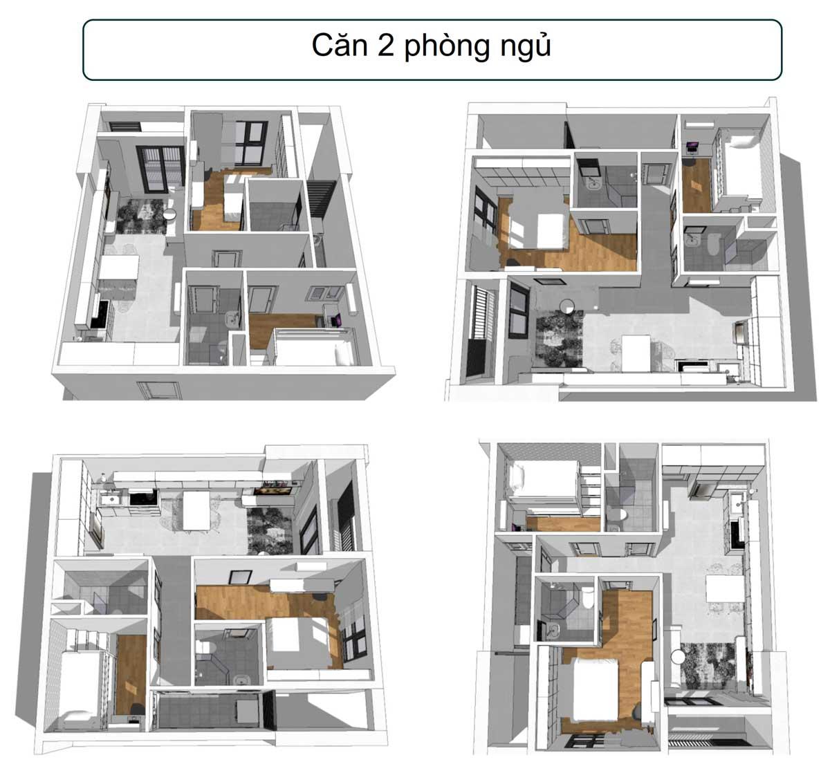Layout căn hộ 2 PN dự án Phúc Đạt Tower