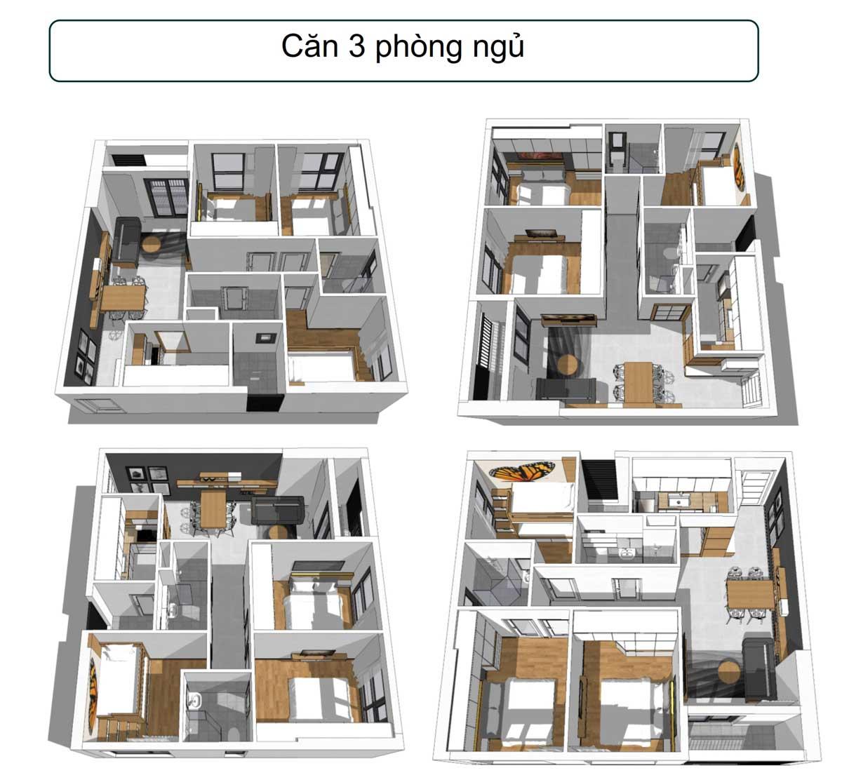 Layout căn hộ 3 PN dự án Phúc Đạt Tower